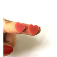 Plexy rojo - Aplique corazon 12 mm ( sin taladros)- 2 uds