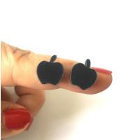 Plexy negro - Aplique manzana 12 mm ( sin taladros)- 2 uds