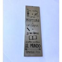 Un niño, un profesor un lapiz...... - Marcapaginas de acero 12x3.5 cm ( MAR-03)