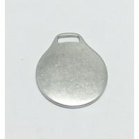 Colgante Zamak baño plata placa redonda  ideal grabar llaveros 41x35 mm