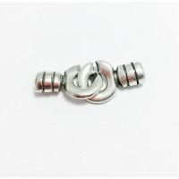 Cierre ZAMAK baño plata dobles circulos 40x15 mm, int 4.5 mm
