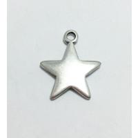 Colgante ZAMAK baño plata estrella ideal grabar 27x22 mm