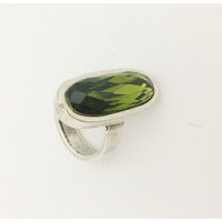 Base anillo Zamak piedra ovalada Swarovski esmeralda Talla 18