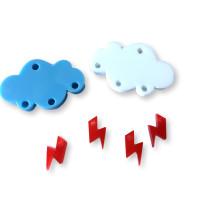 Colgante mini rayo rojo plexy 10 mm ( para combinar con las nubes PXC-101)