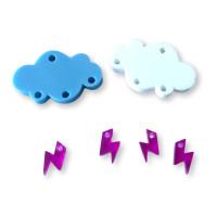 Colgante mini rayo fucsia plexy 10 mm ( para combinar con las nubes PXC-101)