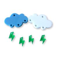 Colgante mini rayo verde plexy 10 mm ( para combinar con las nubes PXC-101)