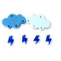 Colgante mini rayo azul electrico plexy 10 mm ( para combinar con las nubes PXC-101)