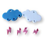 Colgante mini rayo rosa pastel plexy 10 mm ( para combinar con las nubes PXC-101)