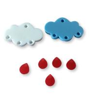 Colgante mini gota de plexy rojo 7 mm ( para combinar con las nubes PXC-101) - 1 unidad