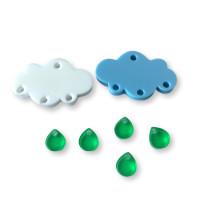 Colgante mini gota de plexy verde 7 mm ( para combinar con las nubes PXC-101) - 1 unidad