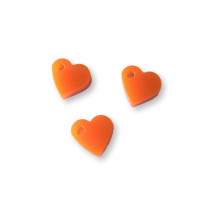 Colgante mini corazon de plexy naranja 7 mm -1 unidad
