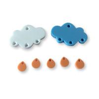 Colgante mini gota de plexy naranja pastel 7 mm ( para combinar con las nubes PXC-101) - 1 unidad