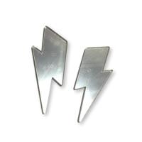 Aplique metacrilato plexy rayo maxi 55x23 mm - Plateado espejo- 2 uds