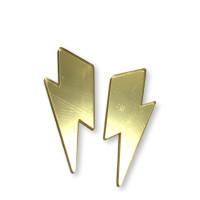 Aplique metacrilato plexy rayo maxi 55x23 mm - Dorado espejo- 2 uds