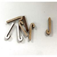 Letra adhesiva manuscrita madera DM - Mayusculas 2 cm - Letra J