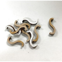 Letra adhesiva manuscrita madera DM - Mayusculas 2 cm - Letra S