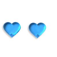 Aplique metacrilato plexy corazon cristal blue 14x13 mm, int 1.2mm  - 2 uds