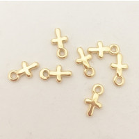 Colgante ZAMAK  dorado mini cruz 5x8 mm