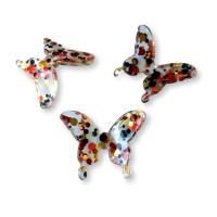 Colgante mariposa de resina y purpurinas 30 mm - Modelo Rojo-Oro-Negro