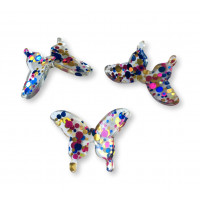Colgante mariposa de resina y purpurinas 30 mm - Modelo Fucsia-Azul-Oro