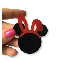 Aplique plexy negro - Cabeza raton negra 50 mm + Diadema orejas conejo glitter rojo 30 mm ( no taladro)
