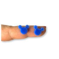 Plexy azul - Aplique silueta raton 12 mm para pegar ( ideal pendientes) 2 uds - 1 par