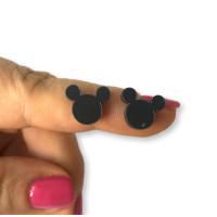 Plexy negro - Aplique silueta raton 12 mm para pegar ( ideal pendientes) 2 uds - 1 par