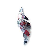 Colgante hoja resina curvada 65x25 mm, int 1.5 mm - Rojo-gris