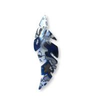 Colgante hoja resina curvada 65x25 mm, int 1.5 mm - Azul
