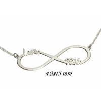 Collar gargantilla infinito 49x15 mm plata de ley con 2 nombres (POR ENCARGO)