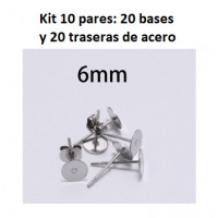 Kit bases pendientes 6mm (10 pares) - Bases pendiente palillo acero inoxidable 6x12 mm