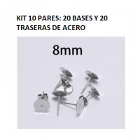 Kit bases pendientes 8mm (10 pares) - Bases pendiente palillo acero inoxidable 8x12 mm