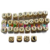 Cubo letra madera carvada 12x12 mm- Premium - Letra U