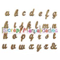 Letras madera DM adhesiva- Minusculas enlazadas- 2 cm A