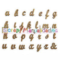 Letras madera DM adhesiva- Minusculas enlazadas- 2-4 cm E