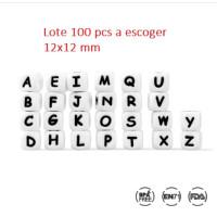 Lote 100 letras cubo silicona premium grandes 12x12 mm ( A escoger)