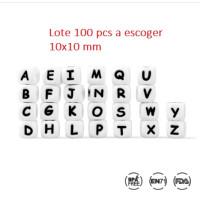 Lote 100 letras cubo silicona premium pequeñas 10x10 mm (A escoger)