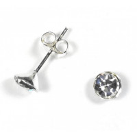 Pendiente plata de ley - Brillante redondo 5 mm (1 par)