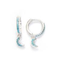 Aros 11 mm con lunas circonitas turquesas  - Pendientes de plata de ley y turquesas ( 1 par)