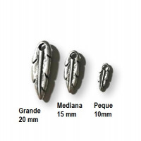 Pluma 15 mm - Colgante ZAMAK baño plata
