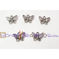 Colgante charm plateado Mariposa 16x13 mm
