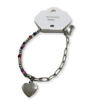 Pulsera acero plateado corazon y bolitas colores -17 cm