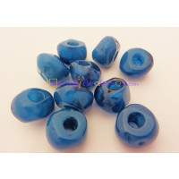 Pepita Irregular aguas blancas 18x12 mm, Int 5,5 mm - Color azul