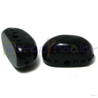 Resina oval  aguas blancas 22x12x11 mm- Color Negro