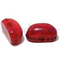 Resina oval  aguas blancas 22x12x11 mm- Color Rojo