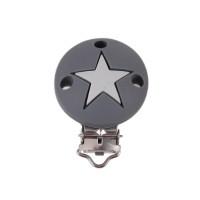 Pinza chupetero silicona redonda estrella 35x52 mm-  Gris claro/osc