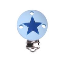 Pinza chupetero silicona redonda estrella 35x52 mm- Azul bebe/celeste
