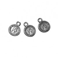Colgante ZAMAK baño de plata  moneda antigua pequeña 8 mm