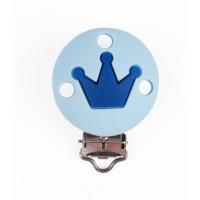 Pinza chupetero silicona redonda corona 35x52 mm- Azul bebe/celeste