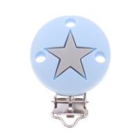 Pinza chupetero silicona redonda estrella 35x52 mm- Azul bebe/Gris Claro